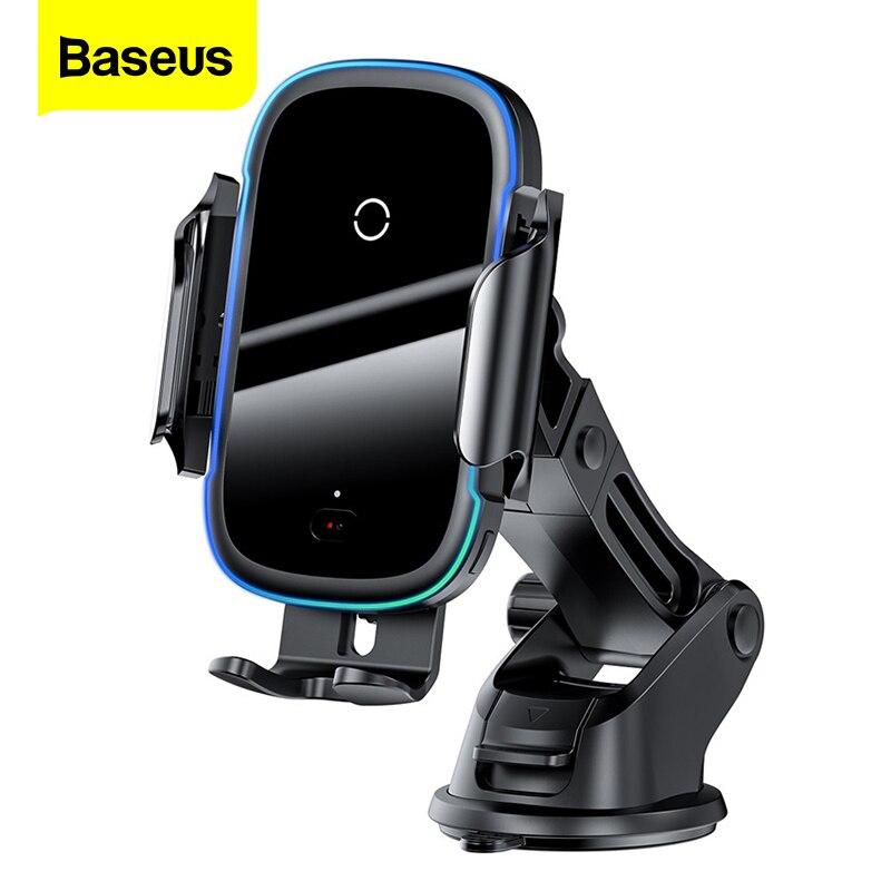 Baseus-cargador inalámbrico Qi para coche, montaje de inducción de 15W, carga rápida con soporte para teléfono de coche, para iPhone 11, Samsung, Xiaomi