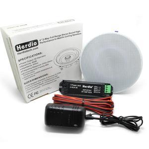 Image 5 - Herdio 4 Inches Bluetooth Ceiling Speakers  Kit Bathroom Wireless Bluetooth Amplifier Water Resistant Ceiling Speakers (2 Way)