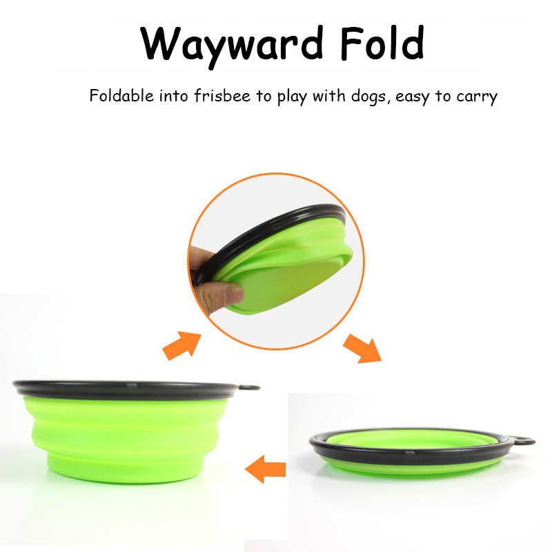 실리콘 유용한 접이식 애완 동물 강아지 여행 그릇 휴대용 강아지 음식 컨테이너 피더 접시 애완 동물 고양이 음식 급수 액세서리