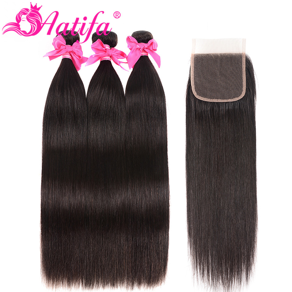 Indian Straight Bundles With Closure 100 Human Hair Bundles With Closure Aatifa Remy Hair Bundles With