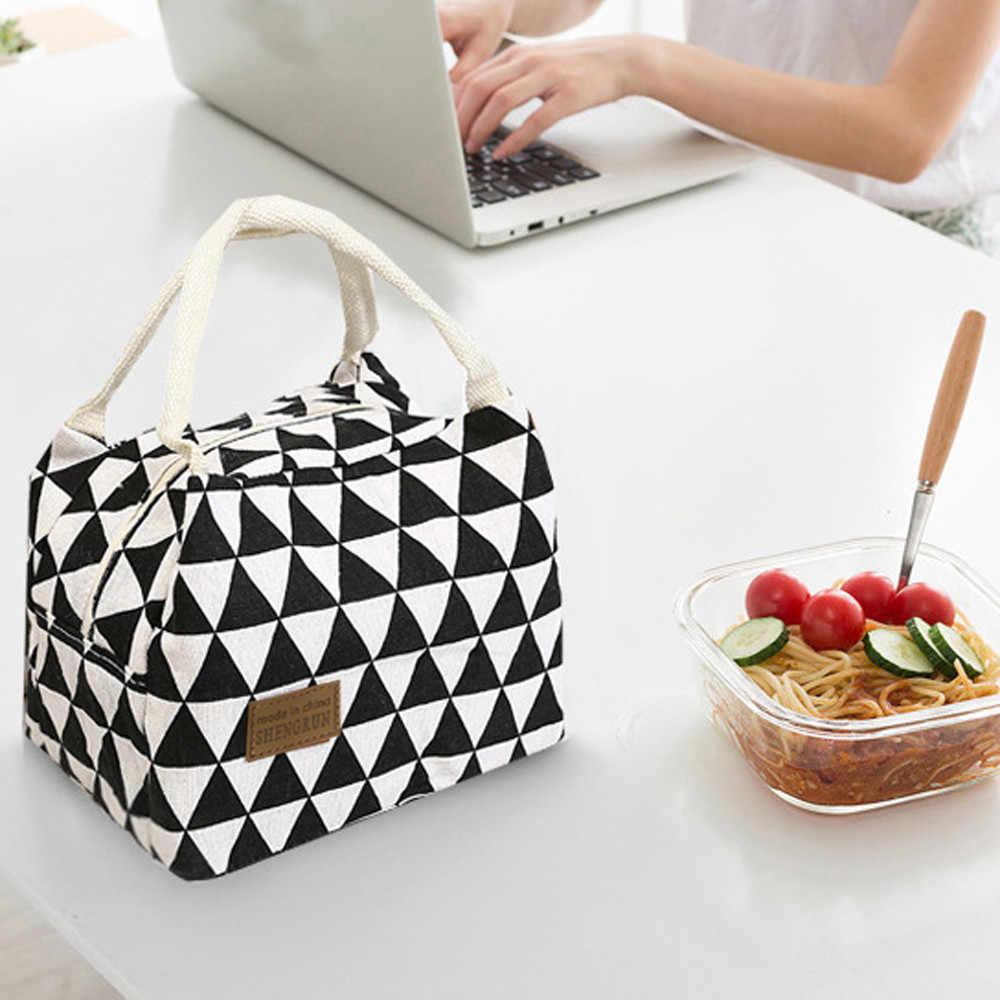 المرأة الهندسة حقيبة حفظ الطعام قماش الطازجة الباردة بالات الحرارية مقاوم للماء المحمولة الترفيه حقيبة تخييم أكياس الغذاء حقيبة الغداء كبيرة