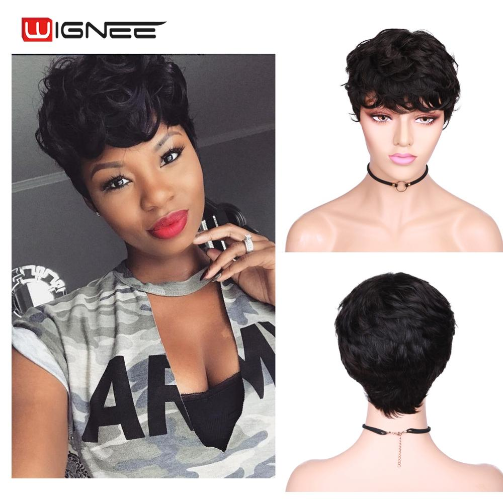 Wignee Short Curly Human Hair Wigs For Women Natural Black Remy Hair Jerry Curl High Density Glueless Short Pixie Cut Human Wigs