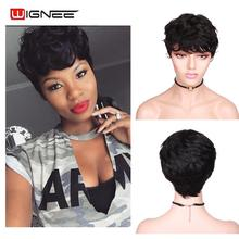 Wignee Short Pixie Cut Curly Human Hair Wigs For Women Natur