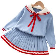 Новинка зимняя модная одежда для девочек вязаный пуловер с бантом