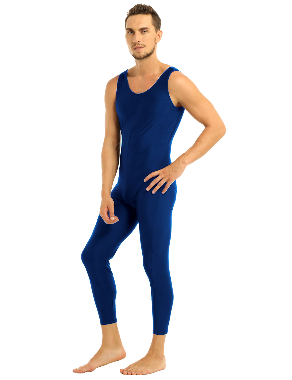 Men Sleeveless Leotard Bodysuit Lycra Tights Leggings for Ballet Dance Vest Teddy Sports Unitard Catsuit Male Dancewear Jumpsuit 23