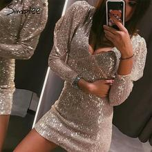 Simplee Sexy v neck sequined party dress women Long sleeve bodycon autumn winter female dresses High waist party club mini dress