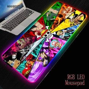 Xgz uma peça anime gamer rgb grande xxl l mousepad led iluminação teclado usb mesa colorida ratos esteira para computador portátil desktop