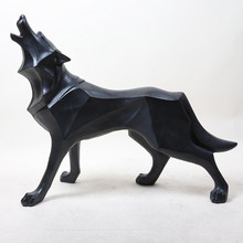 Abstract Totem Wolf Dog Statue Sculpture Geometric Resin Furnishing Home Decoration Accessories Modern Ornament Gifts Crafts retro archaize silver horse head statue animal bust luxury model resin craftwork home furnishing articles l2427