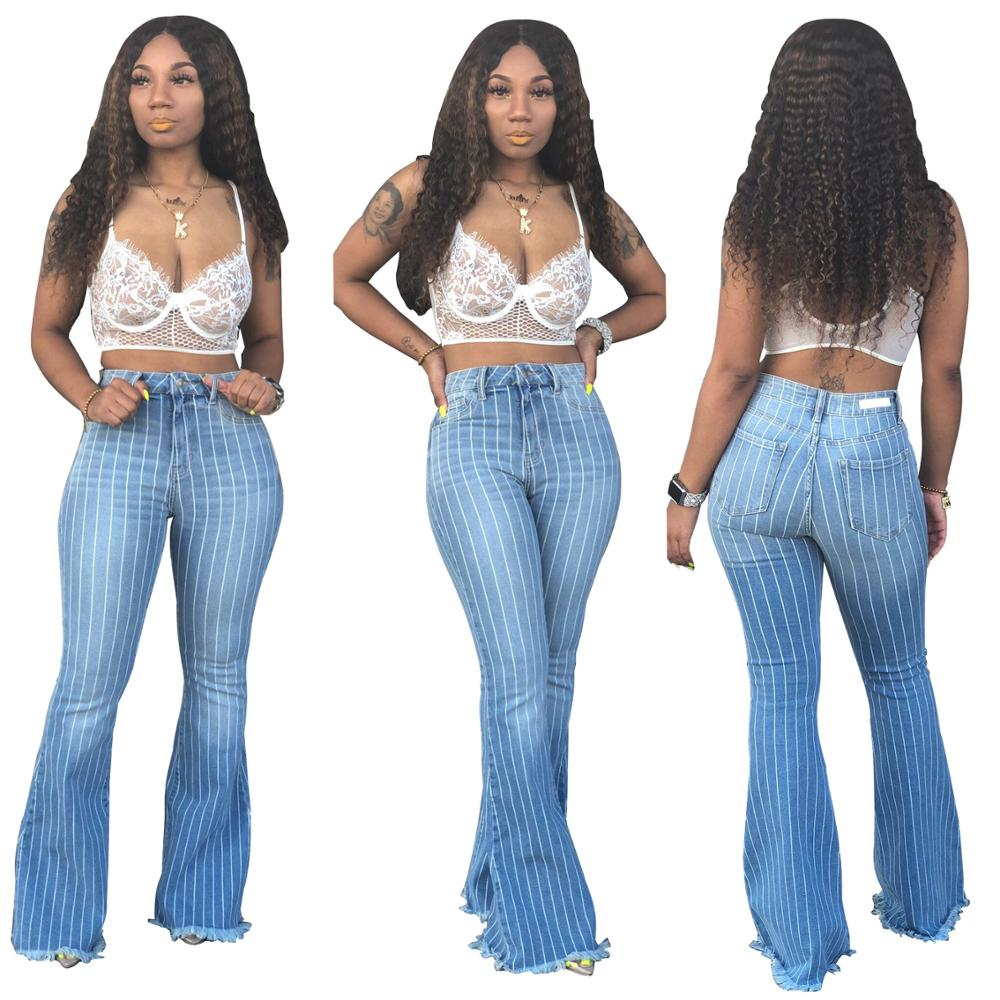 Women Fashion Striped Flare Jeans High Waisted Skinny Push UP Sexy Mom Jeans Femme Bell Bottom Streetwear Denim Pants Large Size