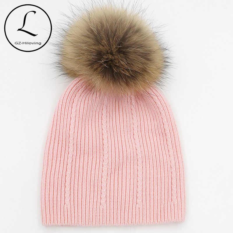 Мягкий теплый шерстяной трикотажный головной убор с настоящим меховым помпоном для маленьких девочек 5-15 лет, зимние шапочки и шапки для детей