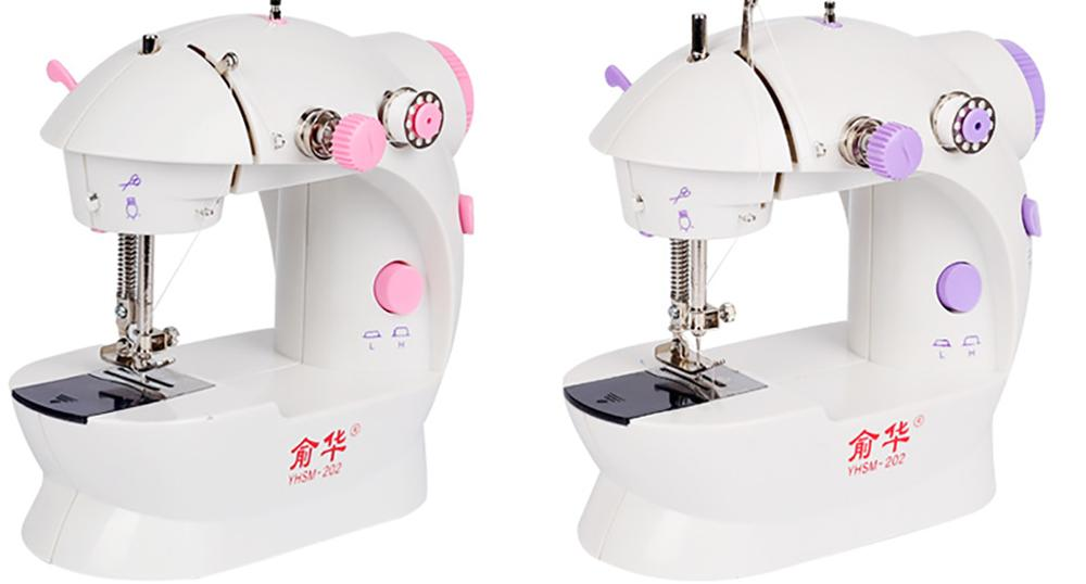 Mini Sewing Machines  Plug Dual Speed Double Thread Electric Automatic Stitching Rewind Sewing Machine