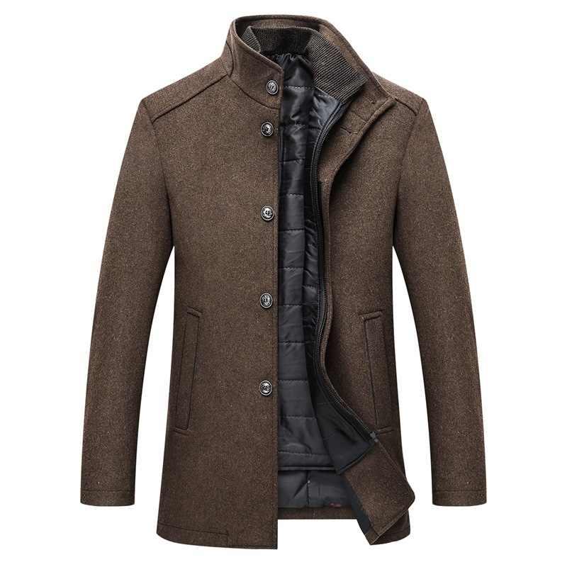 Invierno de los hombres de Color a 4 Abrigos de moda M-3XL nueva ajustable con chaleco de lana gruesa abrigo Hombre Abrigos DE UNA botonadura abrigos y chaquetas