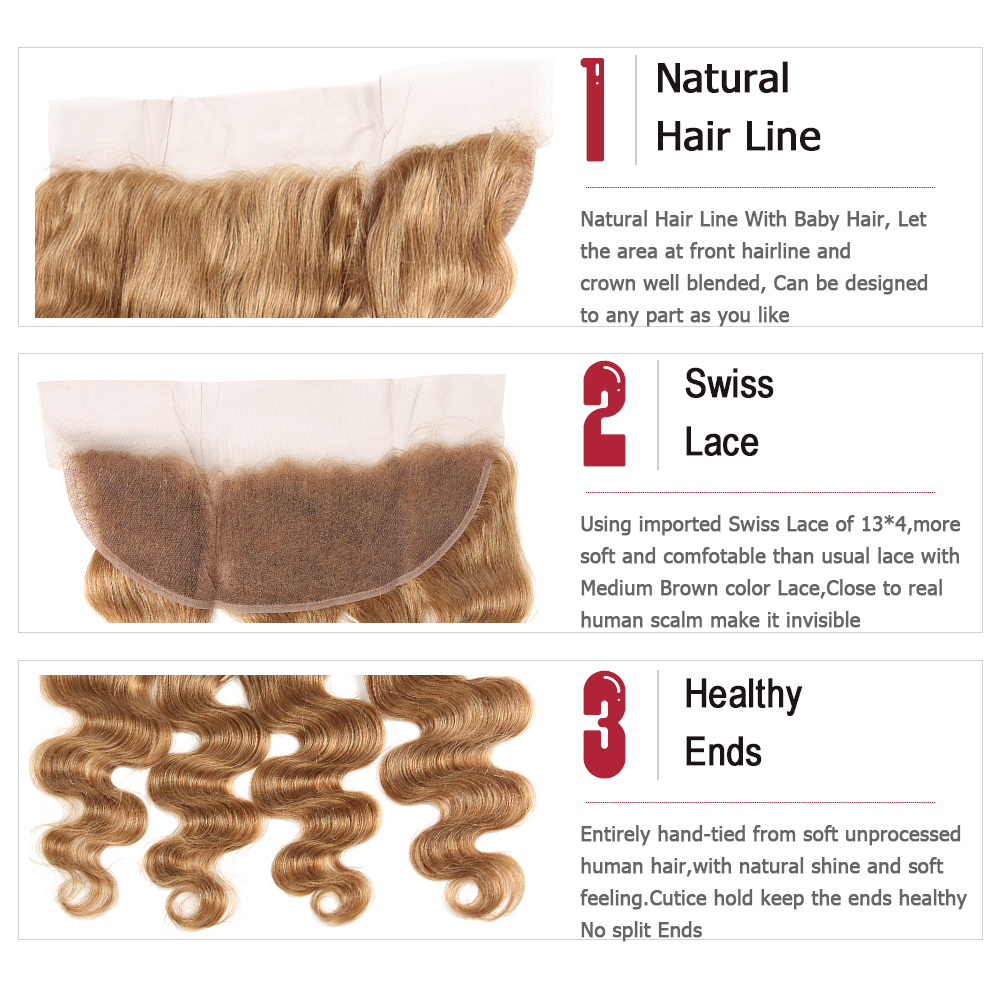 Image 5 - Light Brown 27# Brazilian Body Wave Human Hair Bundles With Frontal 13*4 KEMY HAIR 100% Non Remy Human Hair Weaves Bundle 3/4PCS-in 3/4 Bundles with Closure from Hair Extensions & Wigs