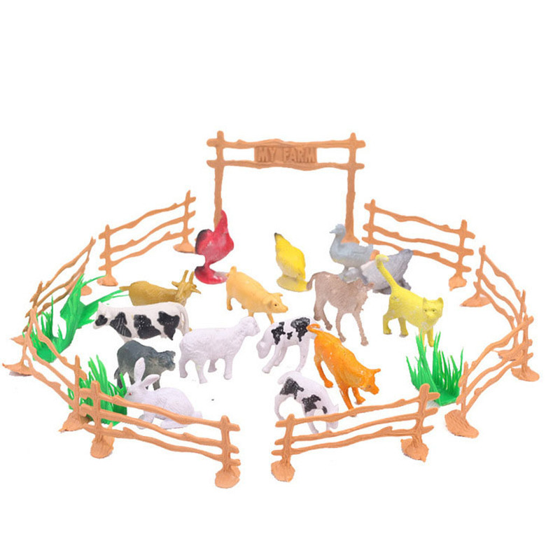 15 Livestock+4 Lawn+8 Railing+1 Door Animal Cow Dog Sheep Goose Family Farm Poultry Feed Fence Simulation Model Toy For Children