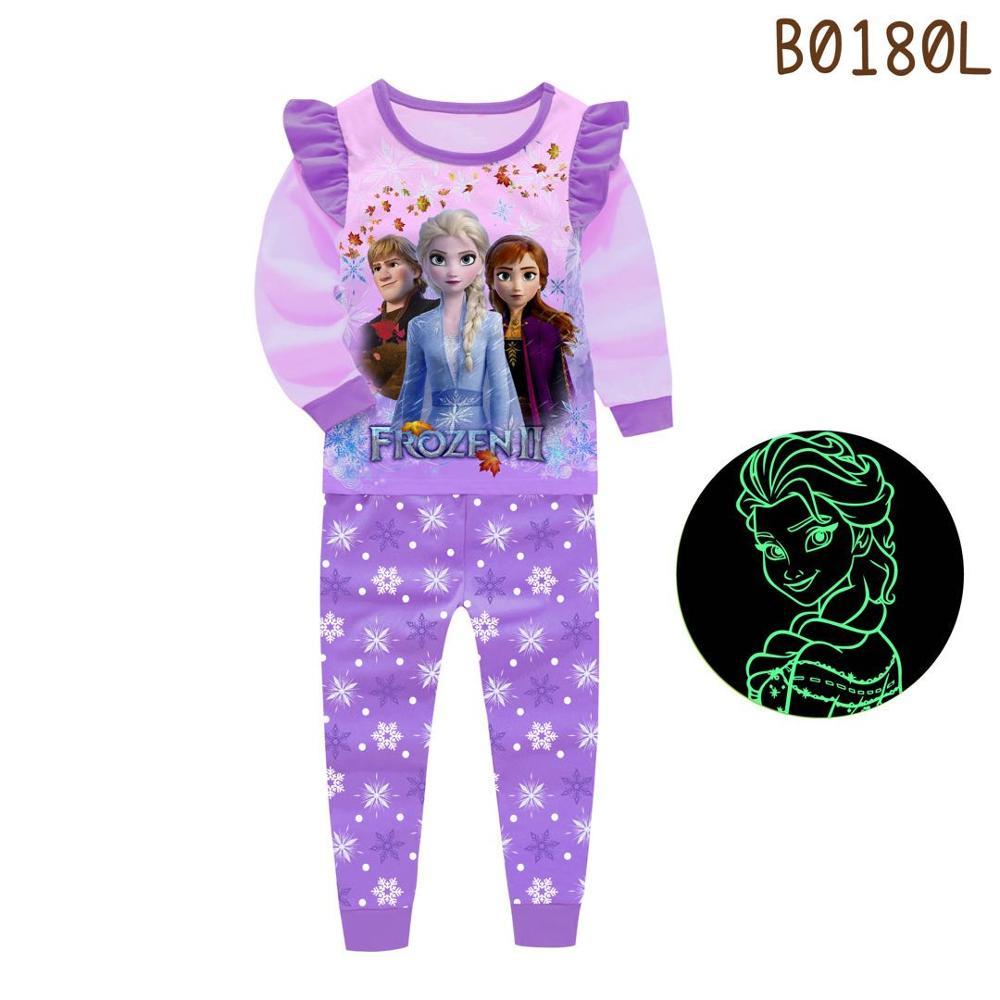 Glow In Dark Elsa Anna Children's Pajamas Cartoon Pyjama Girls Pjs Child Unicorn Sleepwear Clothes For Kids Horse Horn Animal