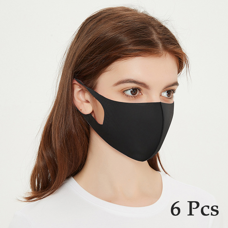 6Pcs Reusable Face Mask With Elastic Earloop Breathable Mouth Cap Washable Face Masks Windproof Fashion Black Mascarilla