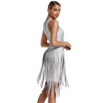 Deer Lady Sexy Celebrity Bandage Dress 2019 New Arrivals Silver Metallic Fringe Dress Bodycon Party HL Bandage Dress Club