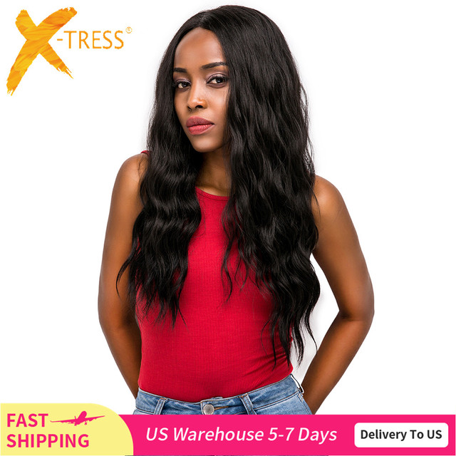 Synthetic Hair Lace Front Wigs Free Part X TRESS Ombre Brown Black Color Long Natural Wave Trendy Lace Hair Wig For Black Women