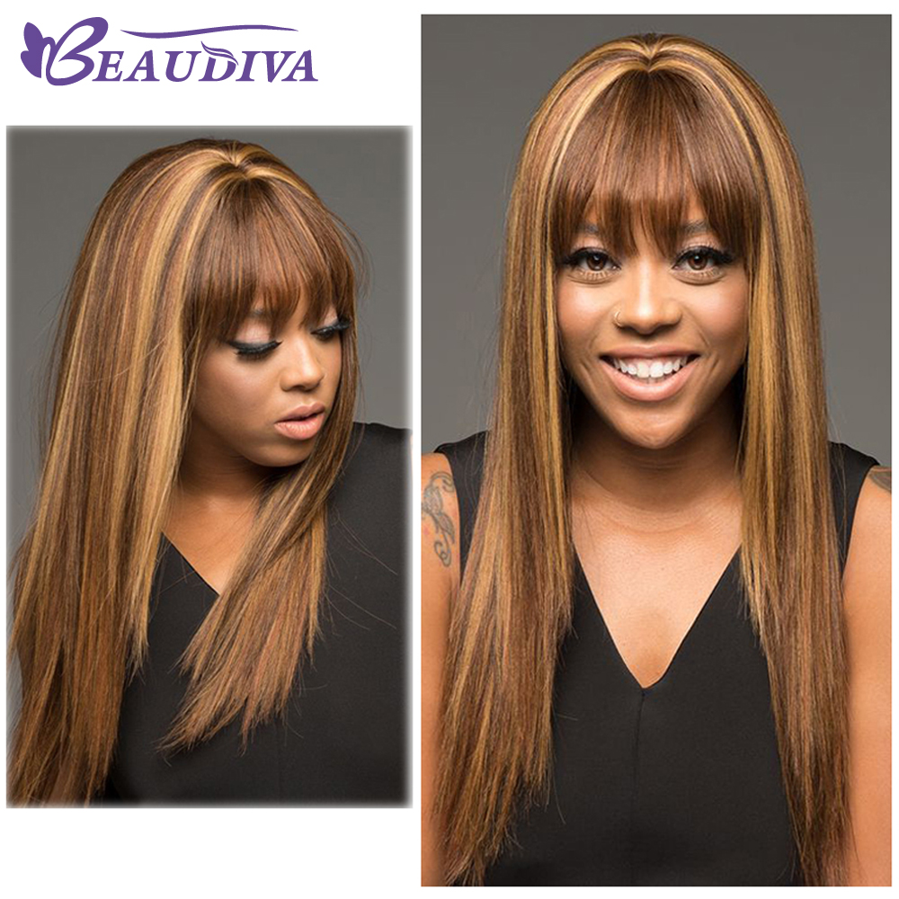 Ombre Human Hair Wig P4-27 Colored Straight Human Hair Wig With Bangs Remy Brazilian Straight Human Hair Wigs For Black Women