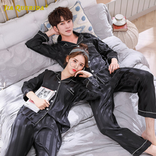 New Imitated Silk Soild Pajamas Set Homesuit Homeclothes Satin Pajamas Casual Long Sleeve Long Pants Sleepwear Button Couple