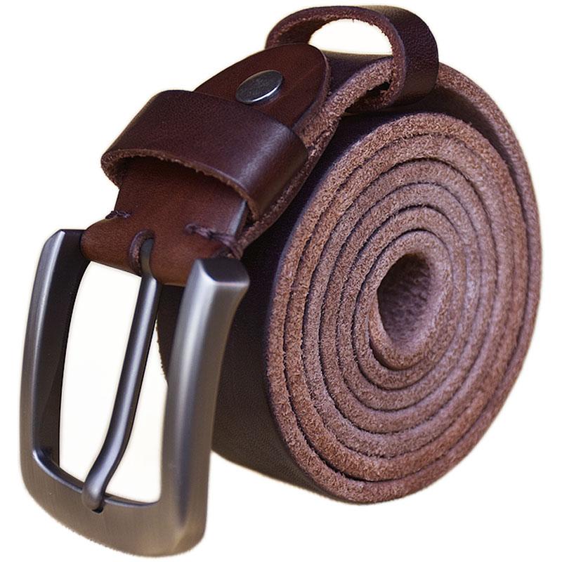Punk Belt Solid Brass Buckle Full Grain 100% Genuine Leather Mens Belts Luxury Designer High Quality Cowboy Brown Belt