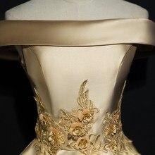 Вечернее платье, стиль, благородное, элегантное, корейский стиль, средней длины, золотое, с открытыми плечами, банкетное платье, женское платье для подружки невесты