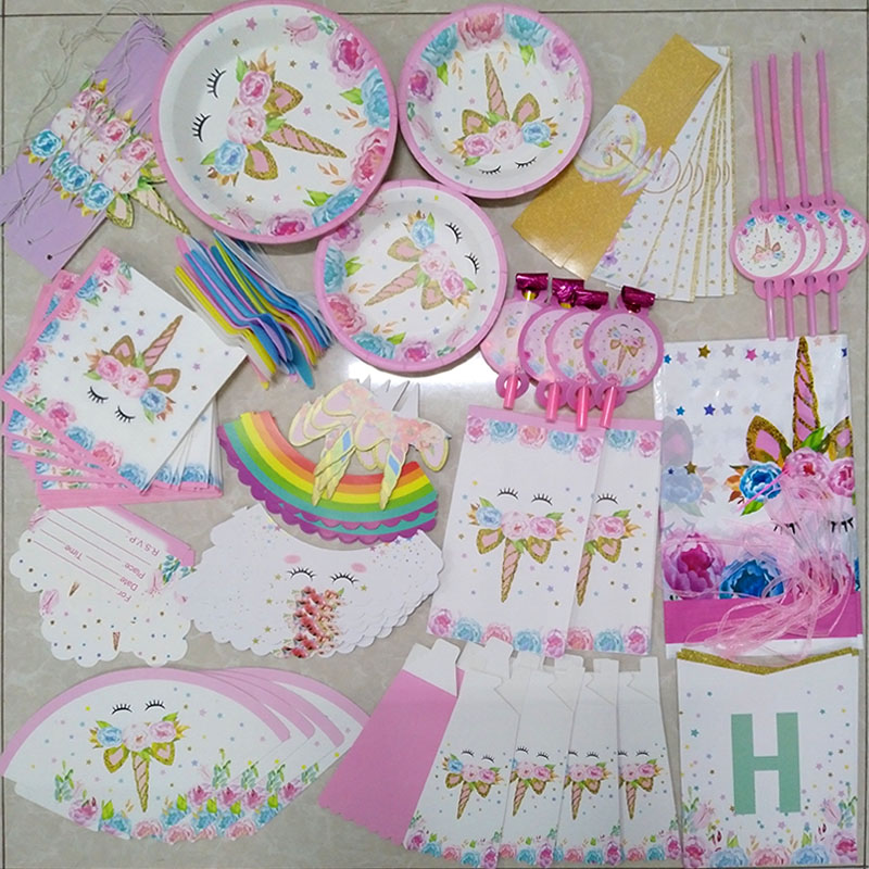 Rainbow Unicorn Birthday Party Disposable Tableware Set Serves 8 Kids Favor Unicorn led light Baby Shower Party Decoration