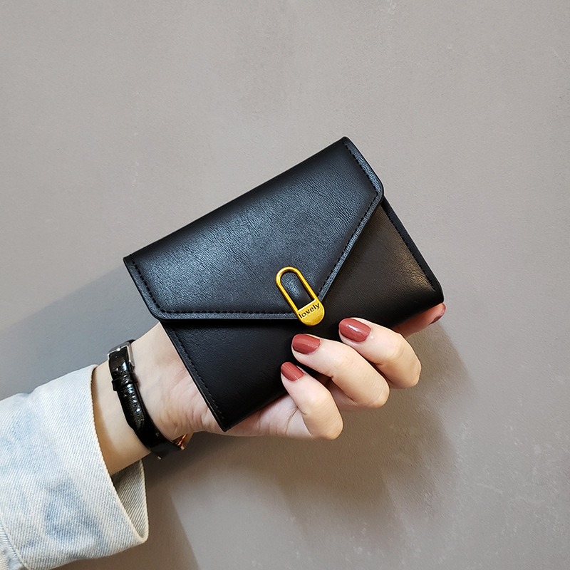 Vento Marea Short Women Wallets Small Slim 2020 New Fashion Pu Leather Female Purses Black Money Bag Hasp 3 Fold Card Holder
