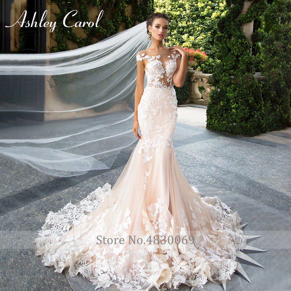 Image 5 - Ashley Carol Invisible Neckline Mermaid Wedding Dresses 2020 Sexy Backless Bride Dress Romantic Lace Appliques Wedding GownsWedding Dresses   -