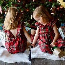 1-6Y Новинка; хлопковые праздничные платья принцессы в клетку для маленьких девочек; сарафан; летняя модная одежда; детское платье в клетку с бантом