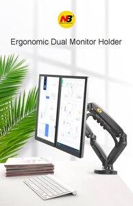 "Image 2 - 2019 New NB F160 Gas Spring 360 Degree Desktop 17"" 27"" Dual Monitor Holder Arm Full Motion Monitor Mount Bracket Load 2 9kg each"