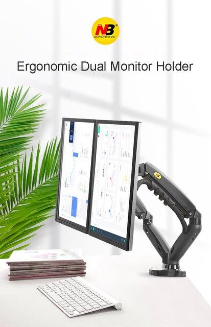 """2019 nowy NB F160 sprężyna gazowa pulpit 17 """"-27"""" podwójny uchwyt monitora ramię z 2 USB3.0 Monitor uchwyt mocujący obciążenie 2-9 kg każde ramię"""