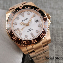 цена BLIGER Rose Gold Automatic Men Wristwatch Sapphire Glass Rotating Bezel GMT Hand White Dial Deployment Clasp онлайн в 2017 году
