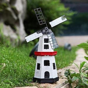 Солнечная ветряная мельница со светодиодными лампами, Вращающийся вентилятор, садовая статуя, декоративные ночные светильники, украшение ...
