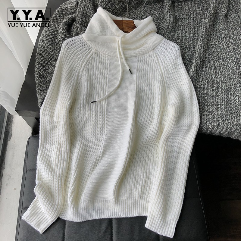 Sweetwear Casual Long Sleeve Turtleneck Mens Hooded Knitted Sweeters Autumn Brand New Fashion Loose Male Pullovers Sweatshirt