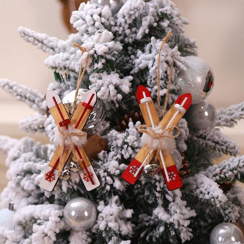 Деревянные сани с веревкой и колокольчиками Рождественская игрушка орнамент Рождественский ярлык кулон для праздников и вечеринок украше... - 5