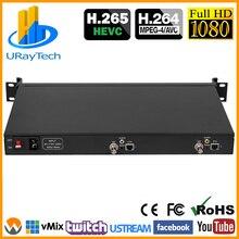 1U Rack HEVC H.265 SD HD 3g SDI к IP HD видео кодер IPTV кодер 2 канала прямой поток RTMP кодер SDI к H.264 H.265