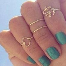4Pcs/Set  Fashion Women Rhinestone Rings Leaf Heart Above Knuckle Midi Stack Ring Boho Party Jewelry 4 pcs set boho ring set 2019 fashion jewelry hollow compass rhinestone shell wedding ring set punk gold knuckle rings party gift