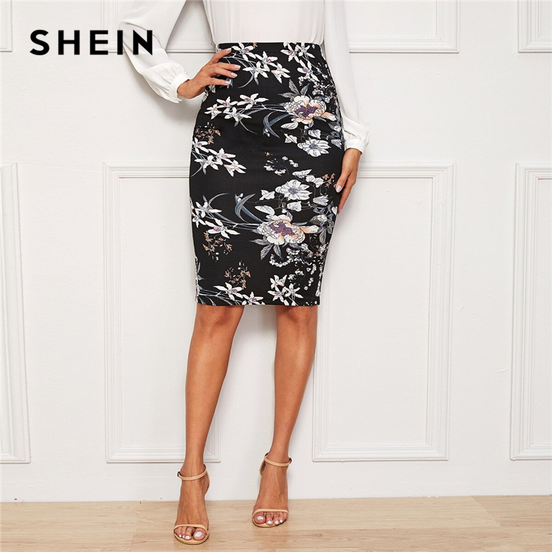 SHEIN Black Plants And Floral Print Elegant Pencil Skirt Women Autumn High Waist Office Ladies Slim Fitted Knee Length Skirts