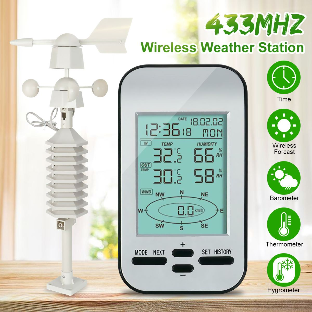 Professional RF 433MHz Wireless Weather Station Clock With Wind Speed And Direction Sensor Transmission Range Up To 100 Meters