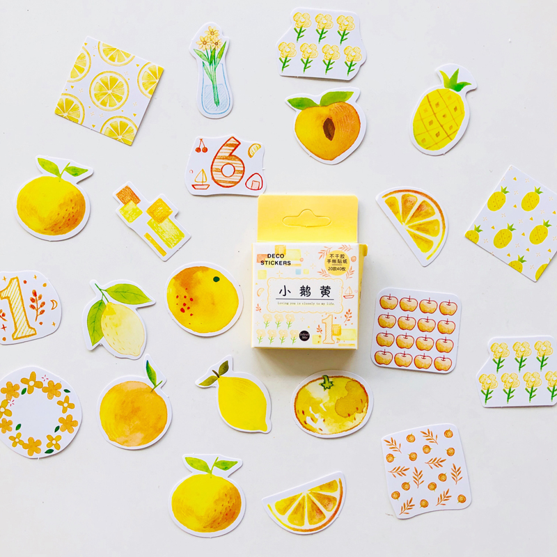 40 Pcs /Box Summer Style Lemon Pineapple Flowers DIY Decorative Stickers Notebook Decoration