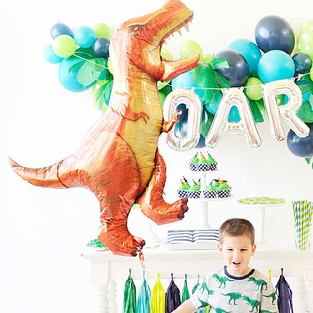 1 PC สีเขียวไดโนเสาร์ยืนฟอยล์บอลลูนอุปกรณ์ไดโนเสาร์วันเกิดบอลลูนสัตว์ป่าส่วนอุปกรณ์ Globos