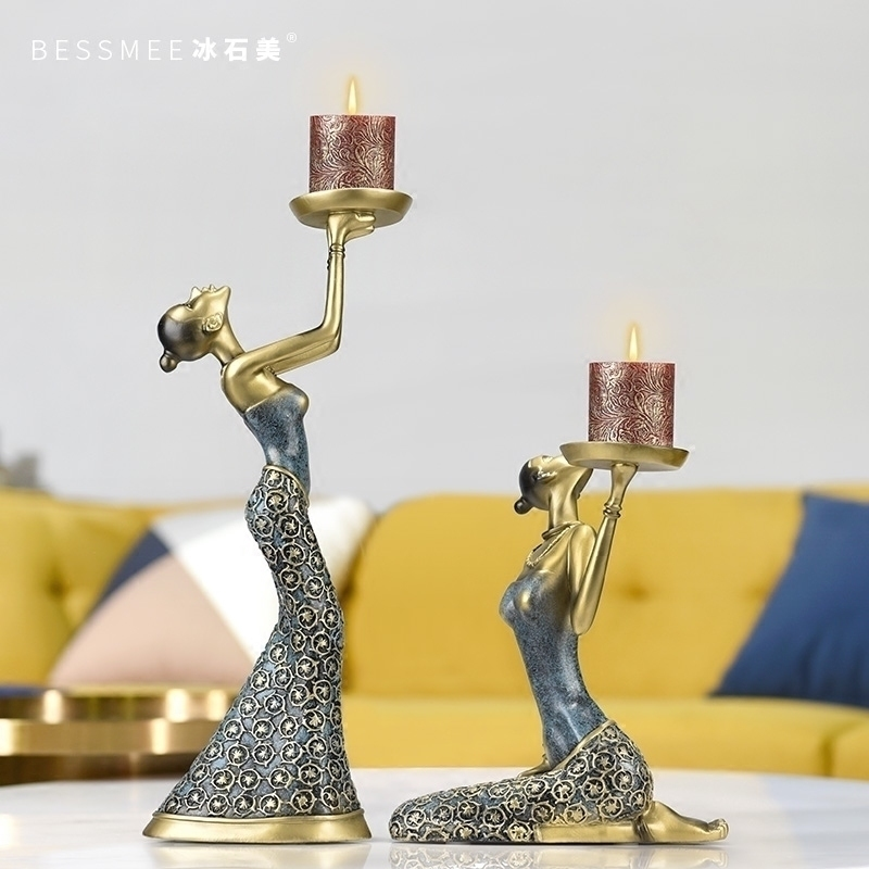 European Retro Candle Holders Dining Table Wine Cabinet Decoration Romantic Candlelight Dinner Christmas Decorations BB50ZT - 3