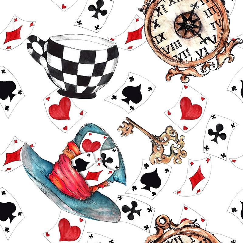 Polyester Satin Fabri für Kleid Alice Poker Individuell Bedruckte Bunte Anim Tuch DIY Sewing Handarbeit Patchwork