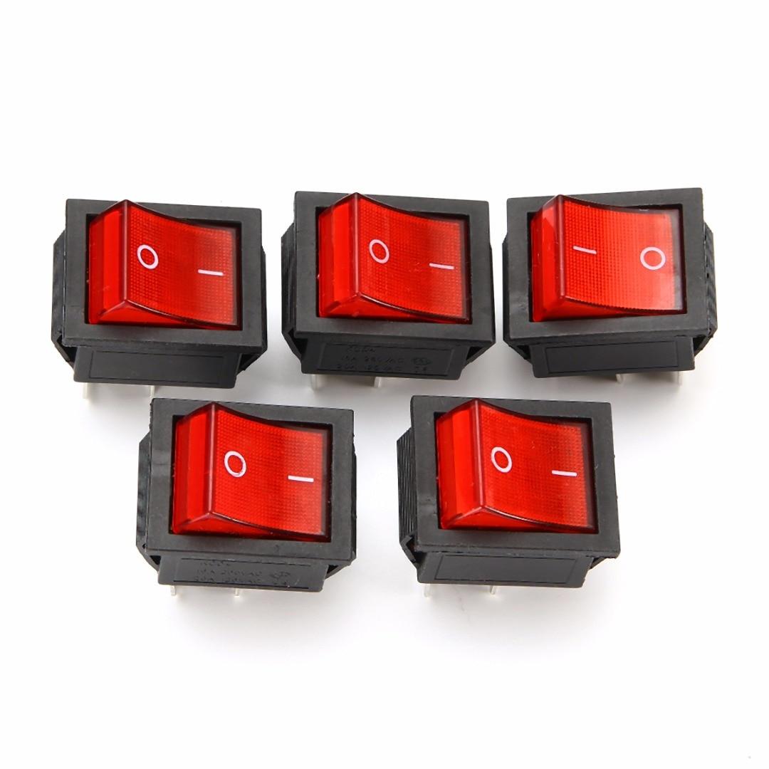 5 шт. 2 позиции Красный светильник кулисный переключатель 16A/250V KCD4-20 4 Pin кнопка включения/выключения тумблеры 35x25,5x10 мм