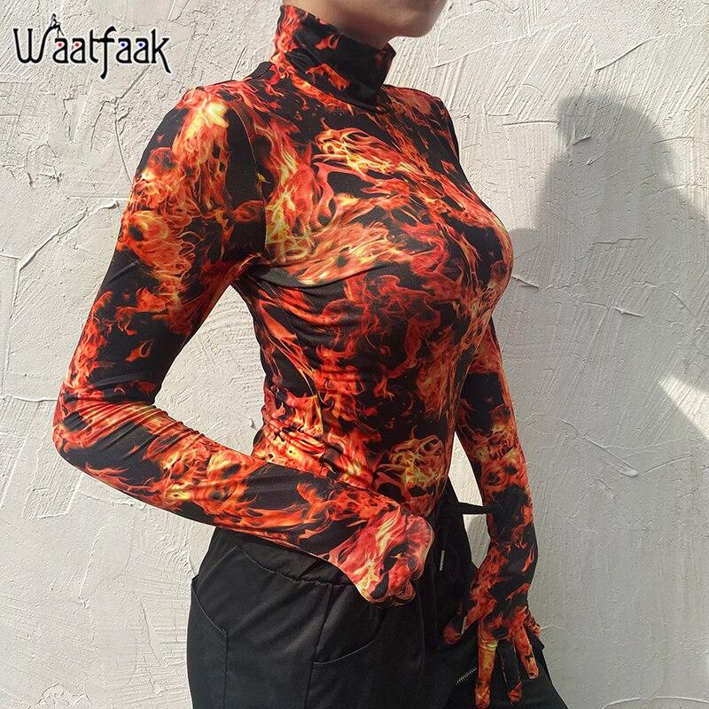 Waatfaak Stretchy Print Skinny Bodysuit Women Orange Harajuku Long Sleeve Body With Gloves Turtleneck Bodysuits Ladies 2019 Top