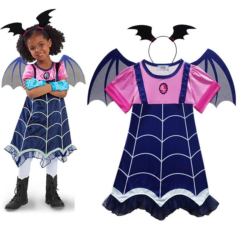 Kids Vampire Cos Costume Hair Band Girls Princess Summer Dresses Vampirin Children Birthday Party Fantasy Halloween Vampirina