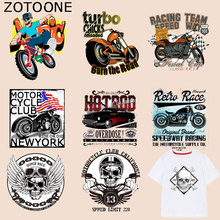 ZOTOONE Motorcycle Car Patches Punk Skull Stickers Iron OnTransfers for Clothes T-shirt Diy Accessory Appliques Heat Transfer G