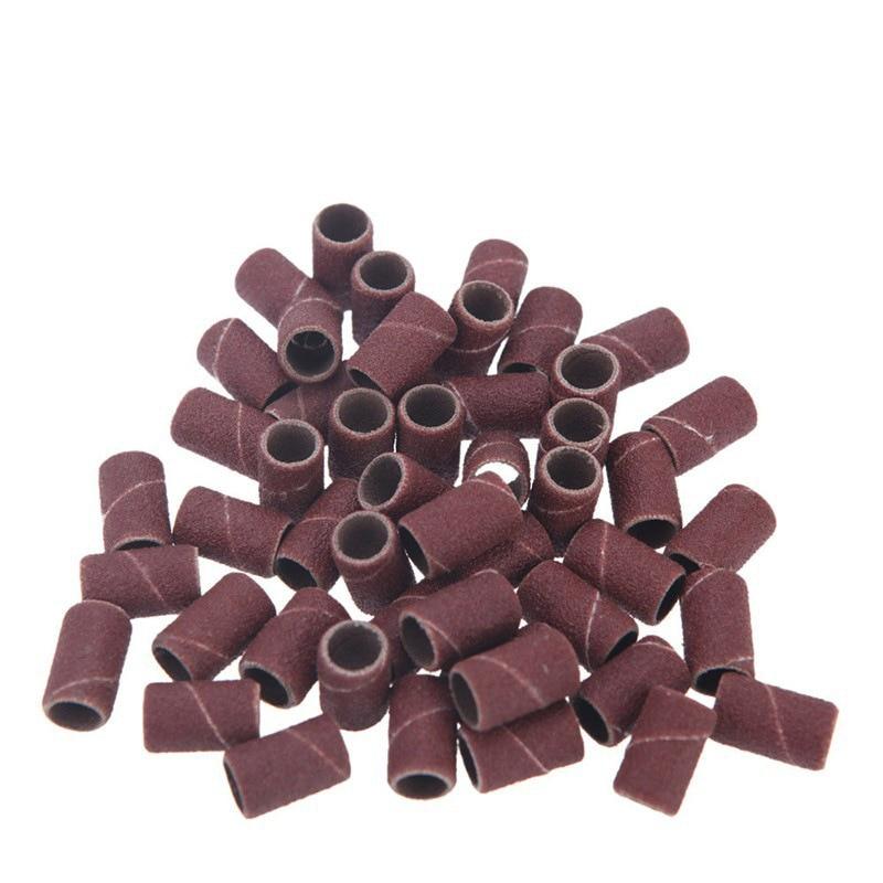100 pçs/lote arte do prego bandas de lixamento círculo para o prego elétrico dril máquina brocas arquivo uv gel polonês removedor ferramenta lixar bandas