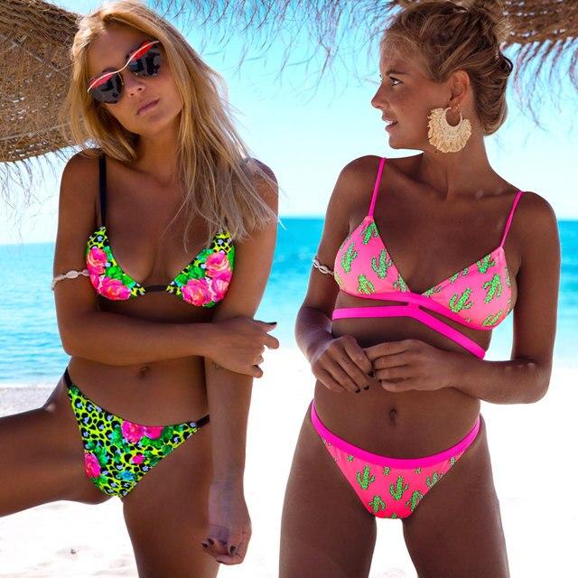 2021 Women Brazilian Beach Wear Biquinis Print Bikinis 2